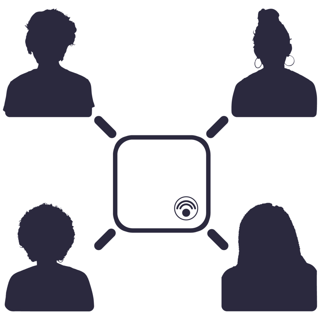 Graphic icon showing remote team